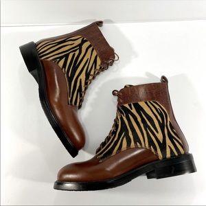 Jeffrey Campbell   Fischer Zebra Tan Lace Up Boots